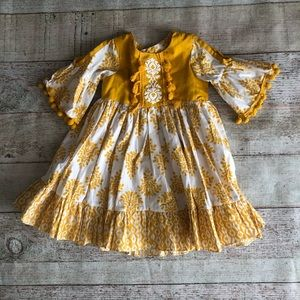 Jelly The Pug 24 month yellow and white boho dress